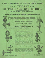 Advert for WH Pike, self-lighting gas burner